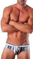 Geronimo Mens Swimwear Glossy Black & White Low Rise Brief Trunks 1511s2 15111